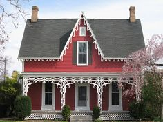 Delving Deeper — The Gothic Revival Cottage – Gwen Tuinman Red Cottage, Victorian Cottage, Cottage Style Homes, Cozy Cottage, Victorian Homes, Folk Victorian, Farm Cottage, Revival Architecture, Gothic Architecture