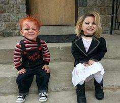 #halloween #makeup omg how cute chucky and chuckys bride lol