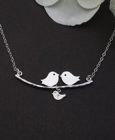 Silver Necklace Personalized Love Birds Necklace by MenuetDesigns, $29.50