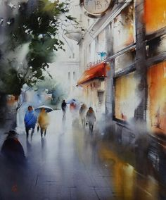 Ilya Ibryaev  -Street In Prague after rain - watercolor -53х42 cm