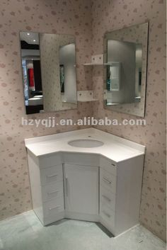 source white modern simplify mirror corner bathroom cabinet vanity on malibabacom - Corner Bathroom Cabinet