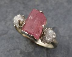 Raw Pink Tourmaline Diamond 14k Rose Gold Engagement by byAngeline