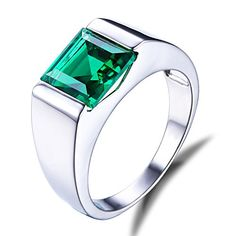 Jewelrypalace Men�s 2.34ct Square Created Green Nano Emerald 925 Sterling Silver Ring Size 10 � Jewelry from Selena