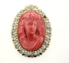 Antique 18K Yellow Gold Well Made Diamonds Pearls Carved Coral Cameo Brooch Pin