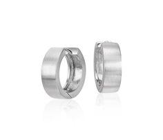 """Matte Huggie Hoop Earrings in Sterling Silver (9/16"""")"""
