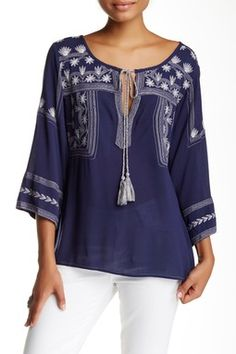 Mur Mur 3/4 Length Sleeve Embroidered Peasant Blouse