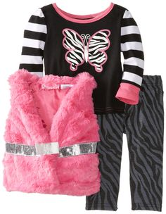 Young Hearts Baby Girls' 3 Piece Butterfly Zebra Print Vest And Pant Set, Pink, 12 Months