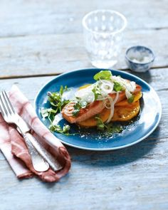 Pan-Roasted Salmon with Fresh Onion and Fennel Salad Recipe