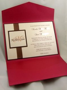 DIY Wedding Challenge: Semi DIY Pocket Fold Invitations These Pocket Fold Invites are sure to make a statement without hurting your wallet. Red Wedding Invitations, Pocketfold Invitations, Wedding Invitation Samples, Diy Invitations, Wedding Stationary, Elegant Invitations, Wedding Paper, Wedding Cards, Diy Wedding