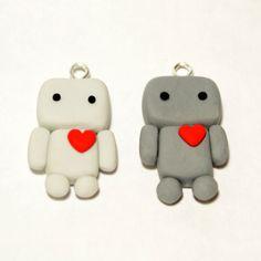 Pair of Cute Robot Charms - Kawaii Polymer Clay Charms. £3.40, via Etsy.