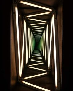 """I saw an exhibition by Ivan Navarro at the Towner gallery a couple of years ago and love the way he plays with light, perspective & mirrors """"IVAN NAVARRO : NARRATION THROUGH LIGHT"""" Perfect for a Haunted house or blacklight themed party! Neon Lighting, Lighting Design, Lighting Ideas, Lighting Concepts, Unique Lighting, Led Neon, Light Luz, Collage Kunst, Instalation Art"""