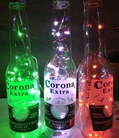 Corona bottle with little fairy lights, friends mexican party
