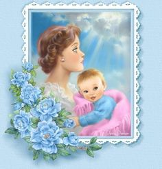 """Mother and Child"" By Penny Parker Mother Images, Baby Images, Cute Images, Baby Shower Cards, Baby Cards, Penny Parker, Baby Scrapbook, Cross Stitch Kits, Mothers Love"