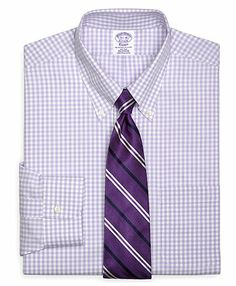 Lavender brooks brothers supima cotton non-iron button-down broadcloth gingham shirt