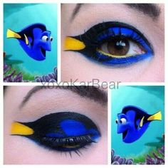 Dori eye makeup. I know it's Pixar movie, but this is really cool! #coolmakeupideas