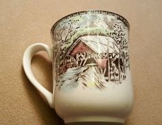 4 JOHNSON BROS. THE FRIENDLY VILLAGE THE COVERED BRIDGE CUPS MUGS