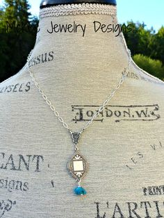 Blue turquoise stone necklace with sterling silver. Bohemian jewelry. Handmade jewelry, artisan jewelry, boho, bohemian, McKee Jewelry Designs, Andria McKee