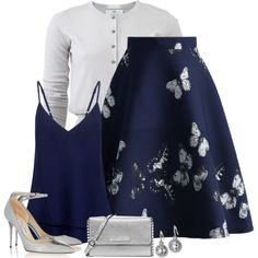 butterfly skirt by divacrafts on Polyvore featuring moda, Allude, C/MEO COLLECTIVE, Chicwish, Jimmy Choo, MICHAEL Michael Kors, Monica Rich Kosann and Original