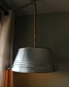Rustic Steel Tub Hanging Rope Lamp - Pendant Lighting Recycled Lamp