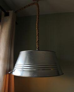 Rustic Steel Tub Hanging Rope Lamp - Pendant Lighting Recycled Lamp