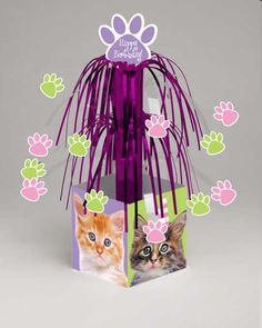 Kitten Party Mini Cascade Centerpiece with Printed Base