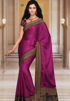 Magenta Faux Satin Chiffon Saree With Blouse Online Shopping: SXF3A