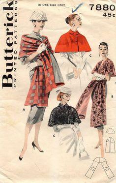 1950's VTG Butterick Cape and Stole Pattern 7880 UNCUT