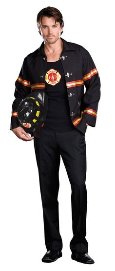 Buckle front jacket with reflective tape trim detail. Includes knit tank top with Fire Department heat transfer and fire hat. Mens Firefighter Costume, Fireman Costume, Fireman Hat, Firefighter Halloween, Firefighter Gear, Firefighter Quotes, Sexy Halloween Costumes, Cool Costumes, Adult Costumes
