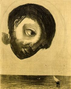 Odilon Redon- Guardian Spirit of the Waters  1878  Charcoal on paper