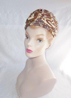 Clearance 1960's Vintage Mid Century Modern Print Turban