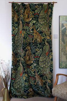 """William Morris & Co Forest Velvet & Velvet Lined Heavy Door Curtain 84"""" Drop M2M   eBay"""