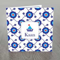 birth announcement card with modern flower pattern of Ottoman Iznik style and cute boat.
