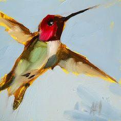hummingbird in flight print by angela moulton