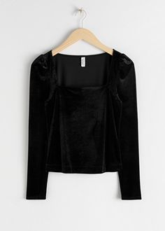 Square Neck Velvet Top - Black - Long Sleeve Tops - & Other Stories Alexa Chung, Clarks, Zara, Square Neck Top, Velvet Tops, Fashion Story, Clothes Horse, Black Tops, Long Sleeve Tops