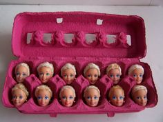 I Love Barbie - Menu Ideas for my I love Barbie Party- 1 Dozen Egg-Head Barbies -- Egghead is an anti-intellectual epithet aka know-it-all.  Have you ever run across one egg-headed person? Now imagine running into a dozen!  These Barbie's heads are in a pink egg carton.  They all have blue eyes and when you close the carton all you see is their eyes!  You can't help but love these egg-headed barbies!  http://www.facebook.com/ooakbarbies