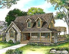 Browse Hill Country house plans with photos. See hundreds of plans. Watch walk-through video of home plans. Stone Cottage Homes, Stone Cottages, Beach Cottages, Country Cottages, Stone Houses, Country Style House Plans, Cottage House Plans, Small House Plans, Farmhouse Style
