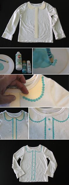 how to add a cute Painted scallop collar to a t-shirt