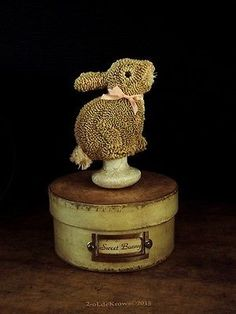 Sweet Bunny Primitive Original Punch Needle Spring Easter Rabbit Make do OOAK | eBay