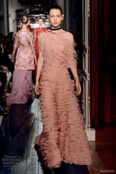 Dusty Pink One Shoulder Silk Chiffon & Silk Organza Ruffled A-Line Gown by Valentino F/W 2012-2013 Couture Collection.............................................