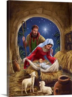 Holy Family with sheep by Marcello Corti - Jesu Geburt - Christmas Artwork, Christmas Nativity Scene, Christmas Paintings, Christmas Scenes, Christmas Pictures, Family Christmas, The Nativity, Christmas Holidays, Christmas Decorations