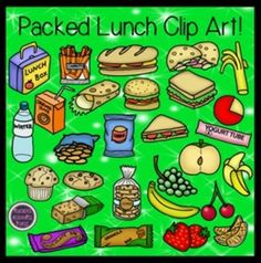 Packed Lunch for school Clip Art - Color & Black Line