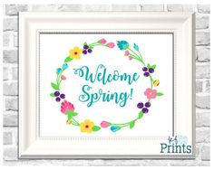 Spring is about renewal and color after a cold, white winter. This lovely spring print says Welcome Spring and will definitely help you feel the beauty of this wonderful season. The calligraphy scripted words are surrounded by a laurel of bright, beautiful flowers. This piece of spring decor will look lovely in your home all season and would be a great addition to your Easter decor.  -Technical Details- This product comes as a .jpeg file. It is sized at 8x10. -About Your Order- All of…