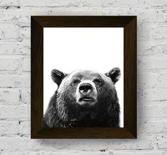 animal print, animal print nursery, bear print, animal wall art, black and white prints, instant download, animal photography, printable art di AlemiPrints su Etsy