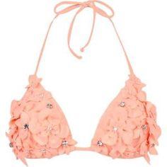 Light orange flower bikini top, adorable!