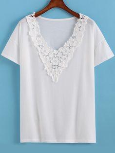 Camiseta cuello V flores crochet -Sheinside