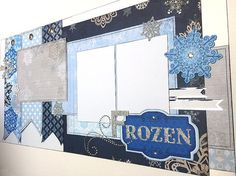FROZEN layout - 12x12 Premade Scrapbook page set - Elsa Anna Olaf Disney World Princess Disneyland Birthday Party Costume Halloween