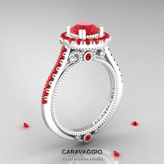 Caravaggio 14K Ceramic White Gold 1.0 Ct Rubies by artmasters, $3299.00