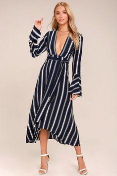 fb437150c6 Faithfull the Brand Carioca Navy Blue Striped Wrap Dress