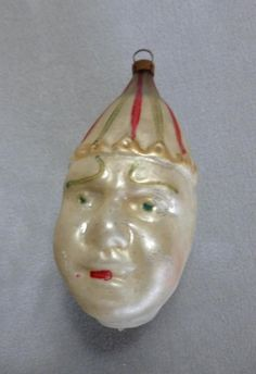 Antique Mercury Glass German Feather Tree Clown Head Christmas Ornament | eBay