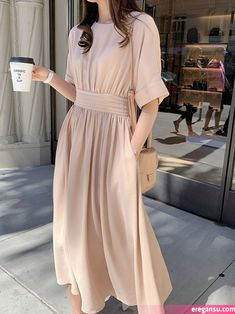 Women Summer Short Sleeve Plain Cotton Dress A Line High Waist Causal Janpan Style Chic Simple O neck midi Dresses Modest Dresses Casual, Simple Dresses, Cheap Dresses, Casual Outfits, Beautiful Maxi Dresses, Cute Summer Dresses, Pretty Dresses, Modest Fashion, Boho Fashion